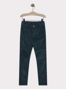 Pantalon vert anglais en velours garçon SAVIZAGE / 19H3PGC1PANG625