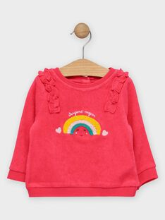 Sweat rose avec arc-en-ciel bébé fille  TAIRIS / 20E1BFG1PUL302