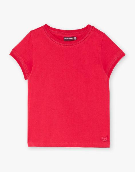 T-shirt fuchsia manches courtes et col rond enfant fille ZLINETTE 2 / 21E2PFK2TMC304