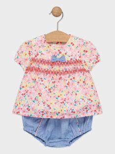 Ensemble blouse fleurie et bloomer bébé fille  TAMARIE / 20E1BFH1ENS001