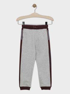 Pantalon de jogging gris chiné et bordeau en molleton gratté garçon SABIAGE-2 / 19H3PGD1JGB943