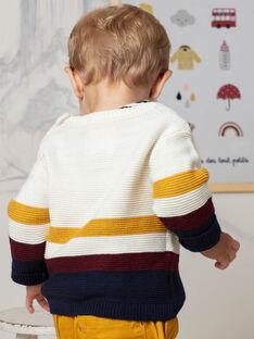 Pull beige et jaune en maille bébé garçon BAFLO / 21H1BG51PUL801