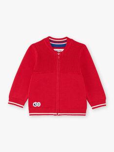 Gilet en maille manches longues rouge bébé garçon BABERNIE / 21H1BG11GIL050