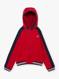 Gilet à capuche rouge et bleu marine enfant garçon BAGE / 21H3PG11GIL050