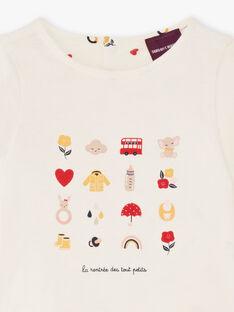 T-shirt réversible écru imprimé bébé fille BAEMY / 21H1BF51TEE001