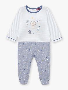 Grenouillère bleue et blanche bébé garçon BEAXEL / 21H5BG66GRE205