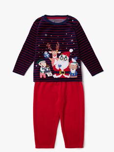 Pyjama bleu marine et rouge petit enfant garçon  VEDAGE / 20H5PGK1PYJ717