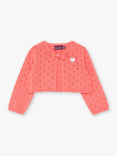 Cardigan corail en tricot fantaisie  ZACELINE / 21E1BFI2CAR404