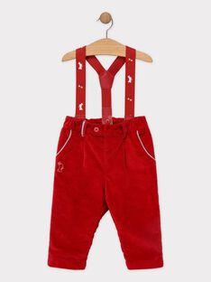 Pantalon bébé garçon rouge à bretelles  SAWALLY / 19H1BGP1PAN050